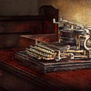 Steampunk - A Crusty Old Typewriter Print by Mike Savad