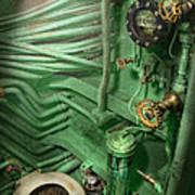 Steampunk - Naval - Plumbing - The Head Print by Mike Savad