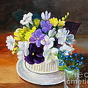 Still Life Freesias And Pansies Print by Sherrill McCall