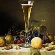 Still Life With A Glass Of Champagne Print by Johann Wilhelm Preyer