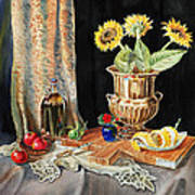 Still Life With Sunflowers Lemon Apples And Geranium  Print by Irina Sztukowski