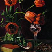 Still Life With Tulips - Drawing Print by Natasha Denger