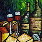 Still Life With Wine And Cheese Print by Kamil Swiatek