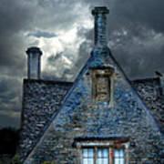Stone Cottage In A Storm Print by Jill Battaglia