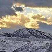 Stormy Sunset Over Snow Capped Mountains Print by Tracie Kaska