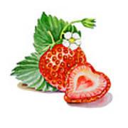 Strawberry Heart Print by Irina Sztukowski
