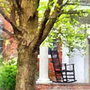 Suburbs - Rocking Chair On Porch Print by Susan Savad