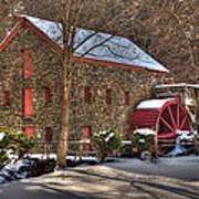 Sudbury Wintery Grist Mill Print by Mark Valentine