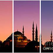 Suleymaniye Sundown Triptych 01 Print by Rick Piper Photography