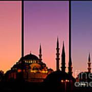 Suleymaniye Sundown Triptych 02 Print by Rick Piper Photography