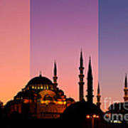 Suleymaniye Sundown Triptych 05 Print by Rick Piper Photography