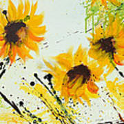 Sunflowers - Abstract Painting Print by Ismeta Gruenwald