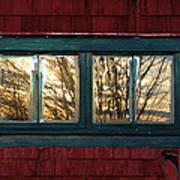 Sunrise In Old Barn Window Print by Susan Capuano