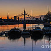 Sunrise On The Thames Print by Donald Davis