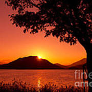Sunset At The Lake Print by Beverly Claire Kaiya