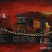 Sunset In New York Print by Denisa Laura Doltu