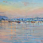 Sunset In Piermont Harbor Ny Print by Ylli Haruni