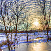 Sunset Over Ice Print by William Wetmore