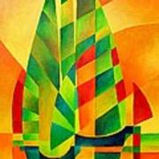 Sunset Sails And Shadows Print by Tracey Harrington-Simpson