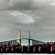 Sunshine Skyway Bridge Print by Joseph G Holland