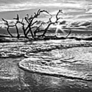 Surf At Driftwood Beach Print by Debra and Dave Vanderlaan