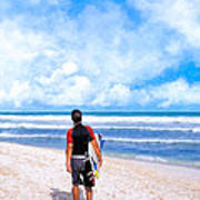 Surfer Hunting For Waves At Playa Del Carmen Print by Mark E Tisdale