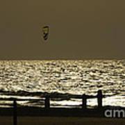 Surfing At Sunset Print by Arik Baltinester