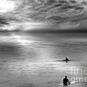 Surfing With The Dolphin Print by Artist and Photographer Laura Wrede