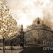 Surreal Fantasy Haunting Gate With Sparkling Tree Print by Kathy Fornal