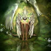 Swan Goddess Print by Carol Cavalaris