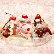Sweet - Ice Cream - Banana Split Print by Mike Savad