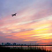 Take Off At Sunset In 1984 Print by Michelle Wiarda