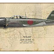 Takeo Tanimizu A6m Zero - Map Background Print by Craig Tinder