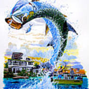 Tarpon Leap Print by Carey Chen