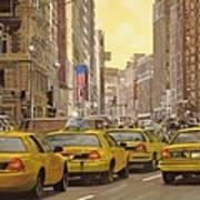 taxi a New York Print by Guido Borelli