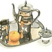 Tea Service With Orange Dramatic Print by Kip DeVore