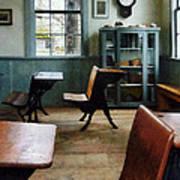 Teacher - One Room Schoolhouse With Clock Print by Susan Savad