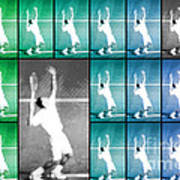 Tennis Serve Mosaic Abstract Print by Natalie Kinnear