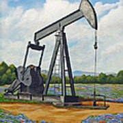 Texas Oil Well Print by Jimmie Bartlett