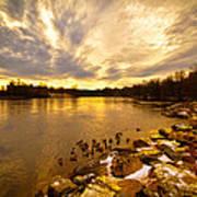 The Androscoggin River Between Lewiston And Auburn Print by Bob Orsillo