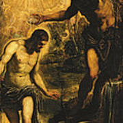 The Baptism Of Christ Print by Jacopo Robusti Tintoretto