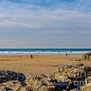 The Beach At Porthtowan Cornwall Print by Brian Roscorla