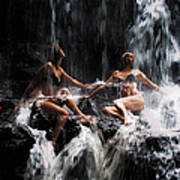 The Birth Of The Double Star. Anna At Eureka Waterfalls. Mauritius. Tnm Print by Jenny Rainbow