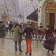 The Boulevard Des Capucines And The Vaudeville Theatre Print by Jean Beraud