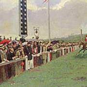 The Course At Longchamps Print by Jean Beraud
