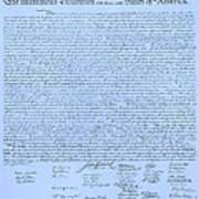 The Declaration Of Independence In Cyan Print by Rob Hans