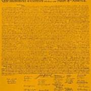 The Declaration Of Independence In Orange Print by Rob Hans