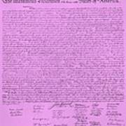 The Declaration Of Independence In Pink Print by Rob Hans
