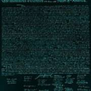 The Declaration Of Independence In Turquoise Print by Rob Hans