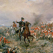 The Duke Of Wellington At Waterloo Print by Robert Alexander Hillingford